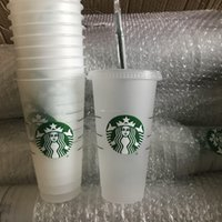 Starbucks 24OZ 710ml Plastic Tumbler Reusable Clear Drinking Flat Bottom Cup Pillar Shape Lid Straw Mug Bardian 100pcs BY DHL