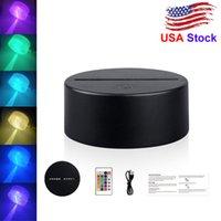 Acrílico 3D LED Lámpara Base Base Night Base LED 7 Color-Ajustar ABS USB Control Remoto Accesorios Apliques Venta al por mayor