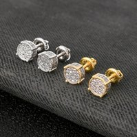 Stud STERLING SILVER POST Men Hip Hop Round Iced Cubic Screw Back Earrings A4011