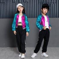 2021 جديد الفتيان والفتيات الجاز الإملاء اللون سترة فضفاضة معطف الأطفال السير هيب هوب أداء الرقص يأتي الملابس