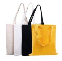 Aufbewahrungstaschen 50 stücke Bunte leere Muster Leinwand Shopping Eco wiederverwendbar Faltbare Umhängetasche Handtasche Tote Baumwolle Custom Logo Sn