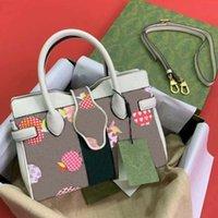 Лучшие женские сумки на ремневые сумки Сумка плодовых узоров напечатанные буквы ромб украшения Сумка через Crossbody Кожаный холст материал соответствующий дизайн