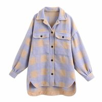 Women's Wool & Blends Women Fashion Sweet Plaid Blend Shirt Jackets Shackets Turn-down Neck Check Jacket Cute Girls Chic Coat Streetwear