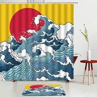 Shower Curtains Waves Printing Set Red Sun Bath Screens Mats Bathroom Rugs Room Decoration Entrance Door Carpets