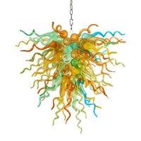 Lampes LUMIÈRE MODERNE LUMIÈRE LED CRISTAL CHANGELIER 80X70CM Multi coloré Verre Lustres de décoration de mariage pour la salle à manger Chambre à coucher