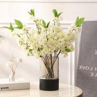 Flores decorativas guirnaldas 5pcs simulación melocotón flor de seda artificial decoración de la decoración de la pofografía Props Fake Jarrón