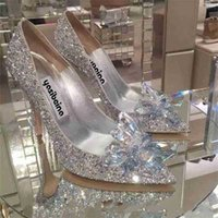 Zapatos de cristal tacón puntiagudo Sexy Bride Shoe's High Female Silver Wedding 210610