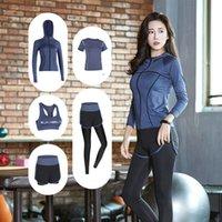 Women's Tracksuits Women Suit Quick Dry Sportswear 5pcs Set Fitness Gym Yoga Clothing Sets Coat+Bra+T-Shirt+Leggings 2021 Workout S-3XL