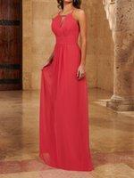 Fancy Rose Chiffon Bridesmaid Dress Floor Length Zipper Back Garden Style Wedding Party Gowns