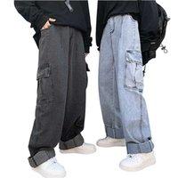 Jeans femininos nyorolo vintage streetwear hip hop grandes bolsos retalhos de retalhos de cintura alta mulheres lavadas de grandes dimensões homens retos sagry denim calças