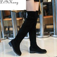 Size 34-41 Winter Over the Knee Boots Women Stretch Fabric Thigh High Sexy Lace Up Woman Flat Shoes Long Bota Feminina