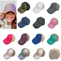 Party Hats Kids Sequins Ponytail Hat 13 Styles Washed Mesh Back Leopard Hollow Messy Bun Baseball Cap Trucker Hat Summer Sun Caps T2I52191