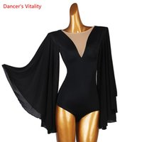 Stage Wear Latin Dance Body Suit Chiffon Onesies Flared Sleeves Performance Clothes Profession Custom Adult Child Competition Clothing