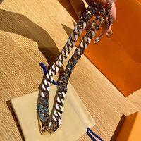 2021 12 Styles Collier de bonbons Bijoux de luxe Diamant 316L Titane en acier en titane Engramme Engramme Coloré Chaîne épaisse Patchs Collier Hip Hop