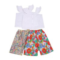 Clothing Sets Kids Girls Fashion 2-piece Outfit Set Sleeve Tops+Floral Print Shorts For Children 2-6Y