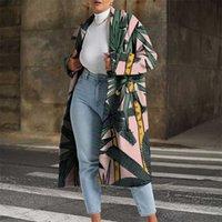 Elegant Pattern Printed Women Long Cardigan Fashion Turn-down Collar Button Top Outerwear Autumn Winter Loose Warm Jacket Coats 211019