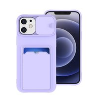 Liquid Silicone Camera Lens Case with Card Holder For iPhone 11 12 Pro Max mini X XR XS Wallet Case for iPhone 7 8 Plus SE2020