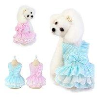 Ropa de perro ropa de vestir lindo para perros pequeños moda rosa falda azul sin mangas princesa cachorro mascota traje de algodón
