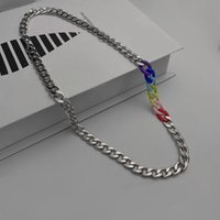 Chains 2021 Fashion Trendy Rainbow Cuban Chain Hip Hop Titanium Steel Non Fading Necklace For Men Women Cool Girls Punk Party Jewelry