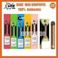 100% Аутентичные BARZ Max Одноразовые Vape Device 420mah Аккумулятор 600 Заголовочные 2 мл 2 МЛ Кит Vape Cartridge Портативный DAB Pen Kit Bang XXL Vape Poep Plus Max