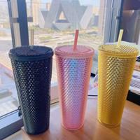 STOCK US Multi Color Water Cup Durian Cup Nouveau style d'environ 700 ml avec du matériau PVC de paille n'est pas fragile HVCut