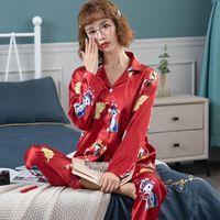 Women Pajamas Set Sleepwear pants,pant Spring Long Sleeve Mujer Pijamas Sexy Lingerie Cartoon Nightwear Silk Satin Pyjamas Pjs Suit 2pcs