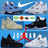 Air Jordan 4 Nike Basketball Chaussures Basket Université Blanc Blue Bred Money Money Cactus Jack Baskets Tour Yellow Metallic Vert Vert Pourpre Hommes Femmes Sneakers