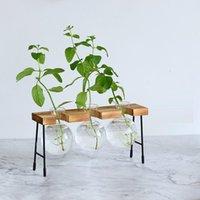 Vases Glass Vase Hydroponic Plant Wooden Frame Coffee Shop Decor Terrarium Plants Home Bonsai Decoration Propagation Station