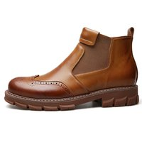 New Black Men Leather Shoes Men Round Toe Dress Shoes High Quality Formal Slip on Leather Shoes High Top Winter Boots *