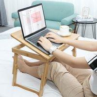 Mesa de laptop de bambu, tabela de cama dobrável Bandeja ajustável para o café da manhã, mesa de trabalho com gaveta de inclinação, natural