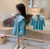Fall girls princess dresses kids lace gauze floral embroidered lace-up Bows capes+lapel long sleeve pleated dress children clothing Q0842