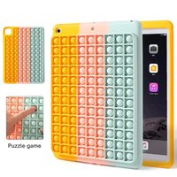 Push Pop Bubble Fidget 3D Decompression Case For Ipad Pro 12.9inch 10.2inch 11inch Soft Silicone Rainbow Back Mobile Cover Poping It Coque Stress Release Fundas