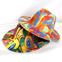 Stingy Brim Hats Winter Female Women Vintage Tie Dye Print Jazz Hat Felt Bowler Girl Fedoras Sombrero Hombre