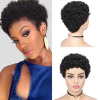 1B 99J Human Brazilian Hair Wigs Capless Afro Kinky Curly Pixie Wig In 2 Colors Perruques De Cheveux Humains RQY4329