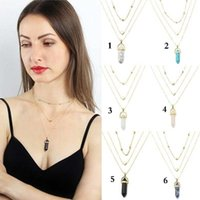 Anhänger Halsketten Kristallglas Sechseck Post Halskette Frauen Multilayer Unregelmäßige Crysta @ 40l Opals Choker Kette