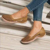 Mulheres cunhas ortopédico oco out pu vintage sandálias do vintage escorregamento em sapatos casuais de costura sapatos sapatos tamanho 35-43