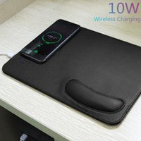 Mouse Pads & Wrist Rests Qi 10W Wireless Phone Charger Charging Computer Pad PU Leather Mousepad With Rest Small Ergonomic PC Office Mice Ma