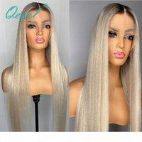 Leichte platin blonde menschliche haare wig 13x6 ombre spitze frontperücken 60 # gerader remy haare für frauen glueleless long teil 150% qearl