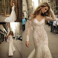 Berta Long Sleeves Mermaid Wedding Dresses 2022 Newest Sexy V-neck Backless Beaded Lace Trumpet Bridal Gowns