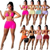 Ropa de baño de mujeres conjunto de dos piezas Ropa de verano Color puro Halter Beachwear Cultivo Top Top Bikini Shorts Sweatsuit Bra Leggings Traje de baño Chaleco Capris Fitness Moda 01366
