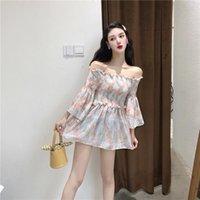Women's Blouses & Shirts 2021 Fashion Clothing Blouse Women Early Autumn Korean Style Sexy Slash Neck Loose Long Sleeve Chiffon Tops