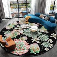 Halılar 3D Baskılı Çiçekler Trendy Gül Yuvarlak Kat Halı Balkon Masa Asılı Sepet Yatak Odası Oturma Odası Bahçe Mat Kilim Kanepe Dekor