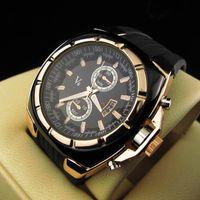 Horloges 2021 V6 Merk Heren Polshorloge PU-riem Big Dial Horloge Twee Ogen Datum Display Sport Casual Herenklok Cadeau Erkek Saat