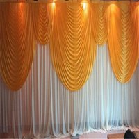 Party Decoration 6m 20ft (w) X 3m 10ft (h) White Wedding Backdrop Curtain With Gold Swags Props Background Vei