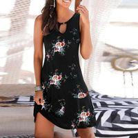Casual Dresses Women Summer Beach Floral Printed Retro Round Neck Sundress Sleeveless Loose Tank Dress Vestido De Mujer 2021