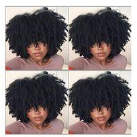 الأفريقي النمط الأفريقي المرأة الأفرو غريب مجعد الشعر الباروكة الطبيعية آلة كاملة الباروكات رقيق المنغولية ريمي الأسود