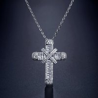 Pendant Necklaces Religious Women Pendants Chain Cross Retro Full Zircon With Small Pretty Waist For Jewelry Gifts Wholesale
