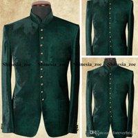 Green Velvet Mens Tuxedos Designer Jackets Peaked Lapel Groom Formal Wear Prom Man Blazer Suit Only One Piece