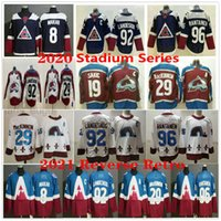 2021 Reverse Retro Colorado Avalanche Hockey N. 8 Cale Makar 19 Joe Sakic 29 Nathan Mackinnon 92 Gabriel Landeskog 96 Mikko Rantanen Jerseys