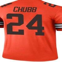 Новый 24 ник Chubb 6 Baker Mayfield # 95 Myles Garrett Orange 2021 инвертированная легенда Джерси